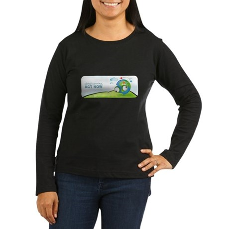 Recycle Wide Women's Long Sleeve Dark T-Shirt
