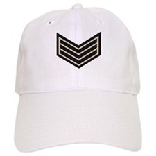 Sergeant Chevrons<BR> White Baseball Cap