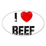 I * Beef Oval Decal