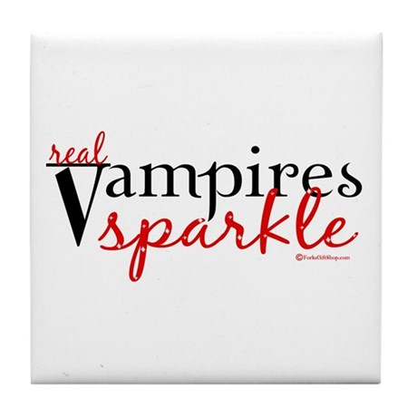 Real Vampires Sparkle Tile Coaster