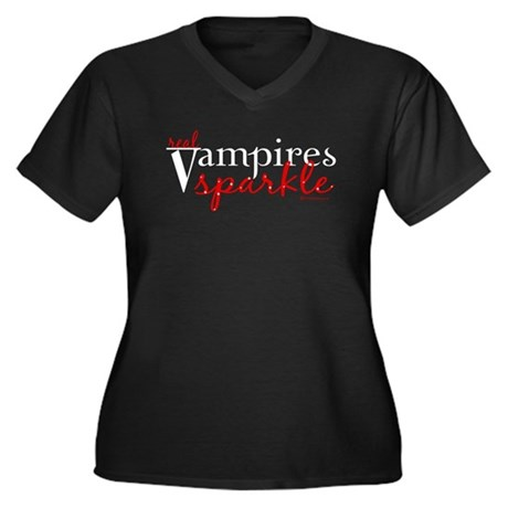 Real Vampires Sparkle Women's Plus Size V-Neck Dar