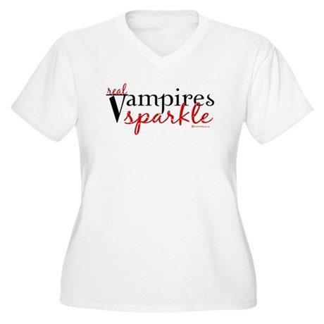 Real Vampires Sparkle Women's Plus Size V-Neck T-S