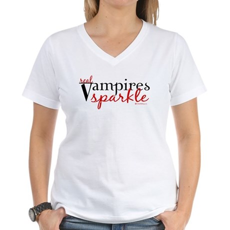 Real Vampires Sparkle Women's V-Neck T-Shirt