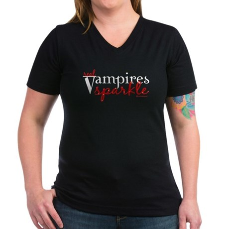 Real Vampires Sparkle Women's V-Neck Dark T-Shirt