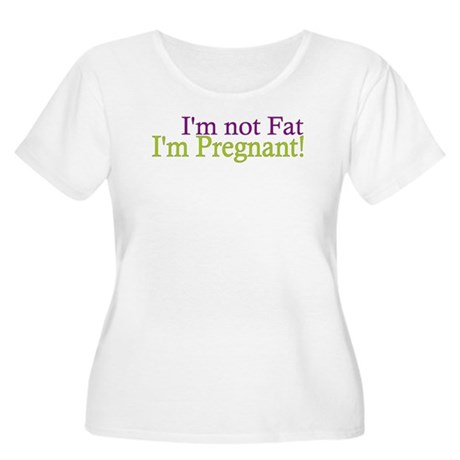 Pregnant not Fat Women's Plus Size Scoop Neck T-Sh