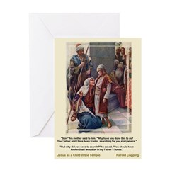 Jesus as Child in Temple-Copping-Greeting Card