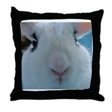 up close cute nose Hotot Bunny Rabbit Throw Pillow