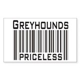 Greyhounds Priceless Bar Code Sticker (Rectangular