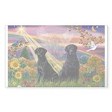 Autumn Angel & Black Labrador Sticker (Rectangular