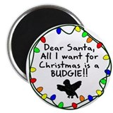 Dear Santa Budgie Christmas Magnet