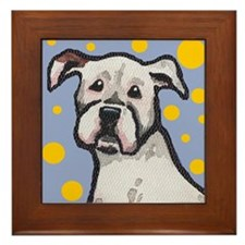 White Boxer Dog Framed Tile