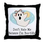 Halloween Bootiful Ghost Throw Pillow