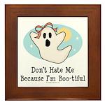Halloween Bootiful Ghost Framed Tile