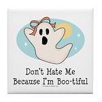 Halloween Bootiful Ghost Tile Coaster