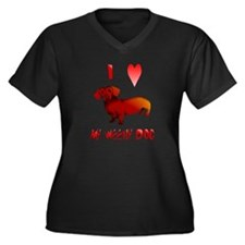 I Love My Weeny Dog Women's Plus Size V-Neck Dark