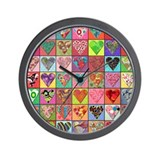 Heart Quilt Wall Clock