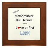Staffy Lick Framed Tile