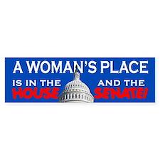 A WOMAN'S PLACE Bumper Car Sticker