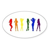 Rainbow of Women Oval Decal