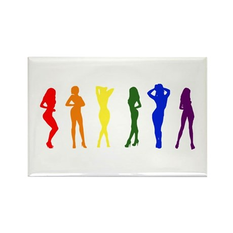 Rainbow of Women Rectangle Magnet