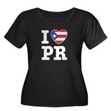 I Love PR Women's Plus Size Scoop Neck Dark T-Shir