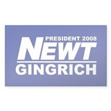 NEWT GINGRICH PRESIDENT 2008 Rectangle Decal