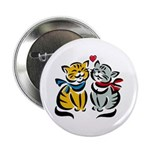 Yellow Cat Loves Grey Cat Button