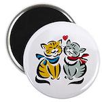 Yellow Cat Loves Grey Cat Magnet