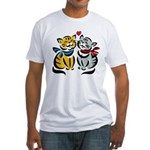 Yellow Cat Loves Grey Cat Fitted T-Shirt