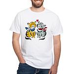 Yellow Cat Loves Grey Cat White T-Shirt