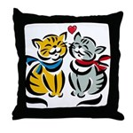 Yellow Cat Loves Grey Cat Throw Pillow