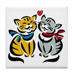 Yellow Cat Loves Grey Cat Tile Coaster