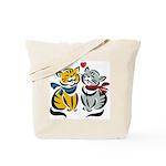 Yellow Cat Loves Grey Cat Tote Bag