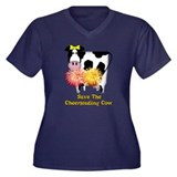 Cheerleading Cow Women's Plus Size V-Neck Dark T-S
