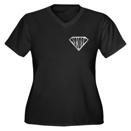 SuperSkip(metal) Women's Plus Size V-Neck Dark T-S