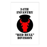 34th Infantry Division (4) Postcards (Package of 8