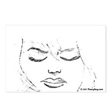 Hand Drawn Woman's Face Postcards (Package of 8)