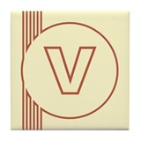 Yellow Art Deco Letter V Decorative Ceramic Tile