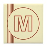 Yellow Art Deco Letter M Decorative Ceramic Tile