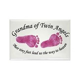 Grandma of Twin Angel Girls Rectangle Magnet