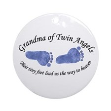 Grandma of Twin Angel Boys Ornament (Round)