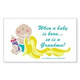 Grandma Is Born Rectangle Decal