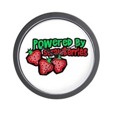 Powered By Strawberries Wall Clock