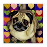 PUG DOG VALENTINE HEARTS Tile Coaster