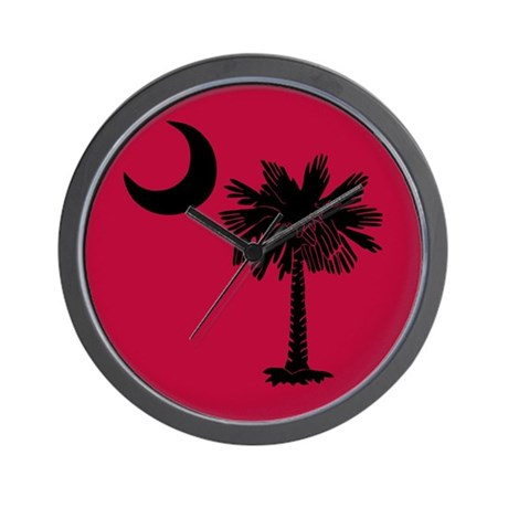 Black and Garnet South Carolina Flag Wall Clock