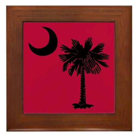 Black and Garnet South Carolina Flag Framed Tile