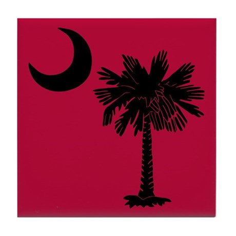 Black and Garnet South Carolina Flag Tile Coaster