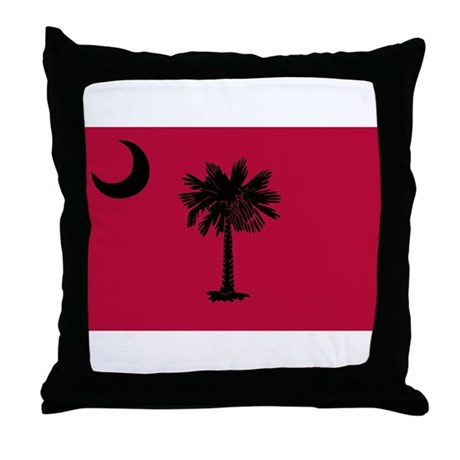 Black and Garnet South Carolina Flag Throw Pillow