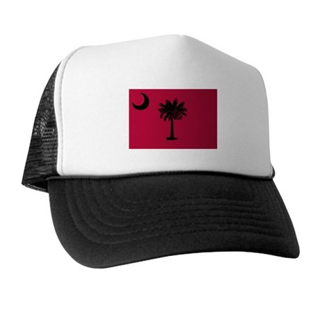 Black and Garnet South Carolina Flag Trucker Hat