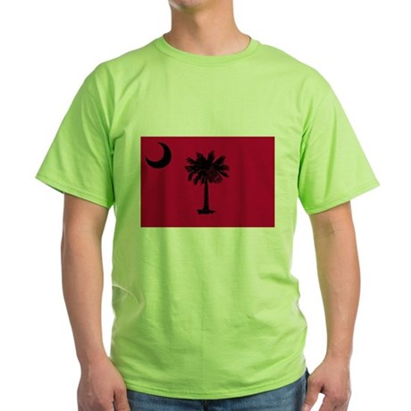 Black and Garnet South Carolina Flag Green T-Shirt